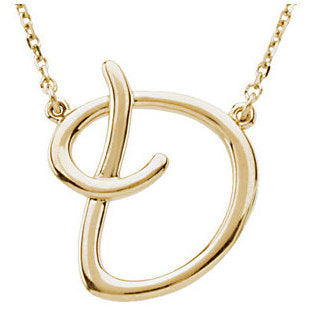 14k Gold or Sterling Silver Script Letter D Initial Alphabet Necklace