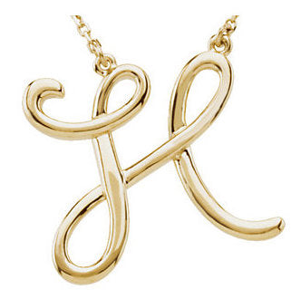14k Gold or Sterling Silver Script Letter H Initial Alphabet Necklace