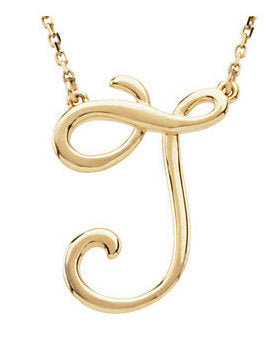 14k Gold or Sterling Silver Script Letter J Initial Alphabet Necklace