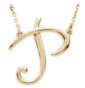 14k Gold or Sterling Silver Script Letter P Initial Alphabet Necklace