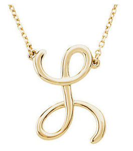 14k Gold or Sterling Silver Script Letter L Initial Alphabet Necklace