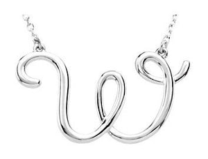 14k Gold or Sterling Silver Script Letter W Initial Alphabet Necklace