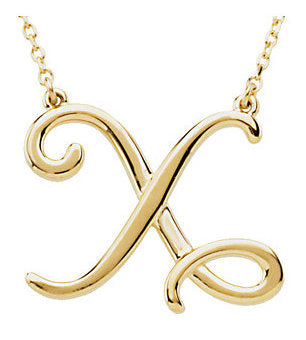 14k Gold or Sterling Silver Script Letter X Initial Alphabet Necklace