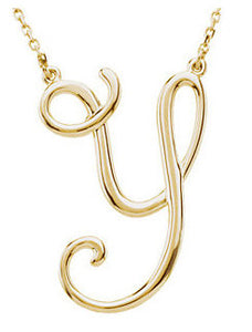 14k Gold or Sterling Silver Script Letter Y Initial Alphabet Necklace