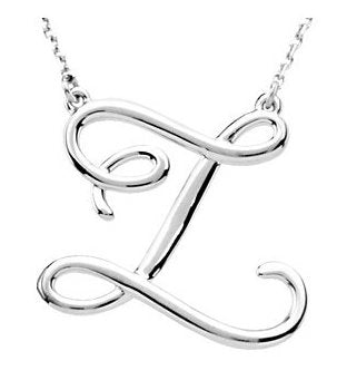14k Gold or Sterling Silver Script Letter Z Initial Alphabet Necklace