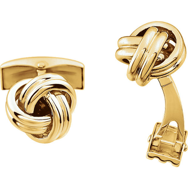 14k Yellow Gold or 14k White Gold 12mm Knot Cufflinks Cuff Links