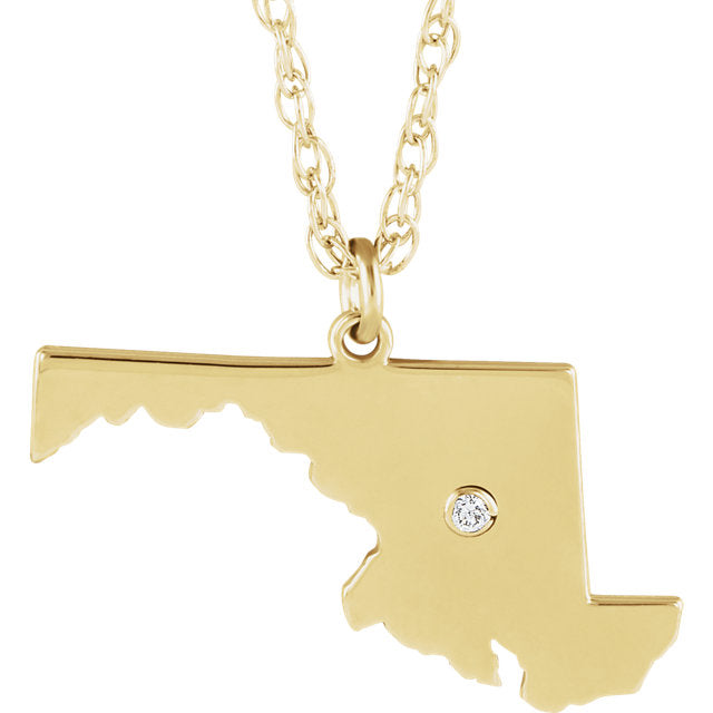14k Gold 10k Gold Silver Maryland MD State Map Diamond Personalized City Necklace