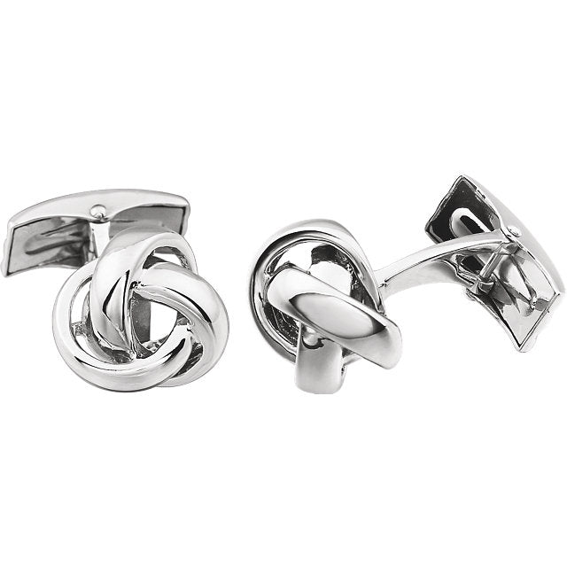 14k Yellow Gold or 14k White Gold 14mm Knot Cufflinks Cuff Links