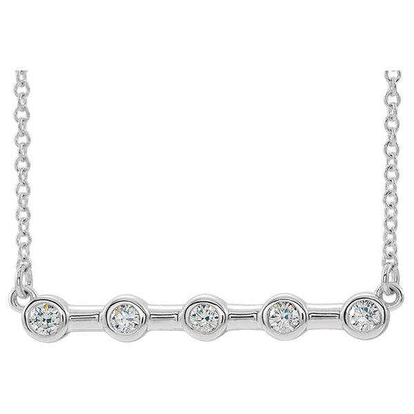 Platinum or 14K Yellow Rose White Gold or Silver 1/6 CTW Diamond Bezel Set Bar Necklace