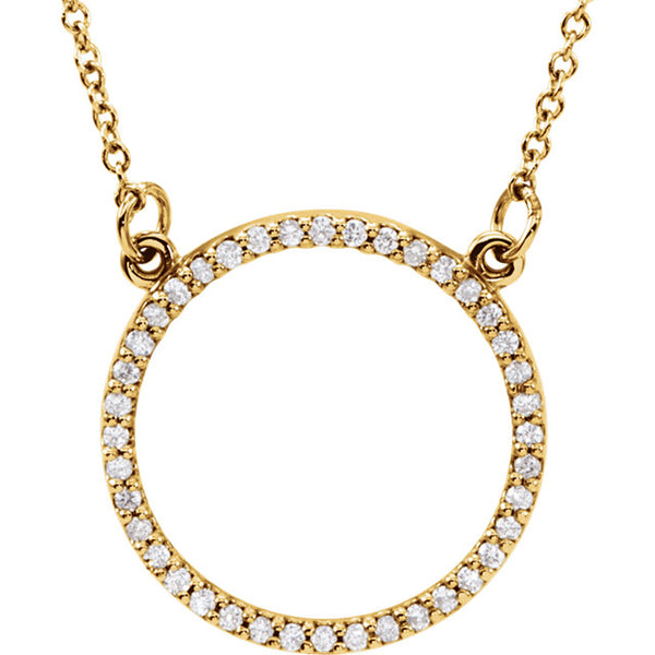 14k Yellow White Rose Gold 1/6 CTW Diamond 13mm Circle Necklace