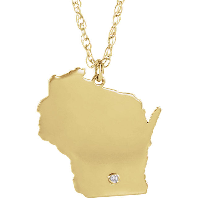14k Gold 10k Gold Silver Wisconsin WI State Map Diamond Personalized City Necklace