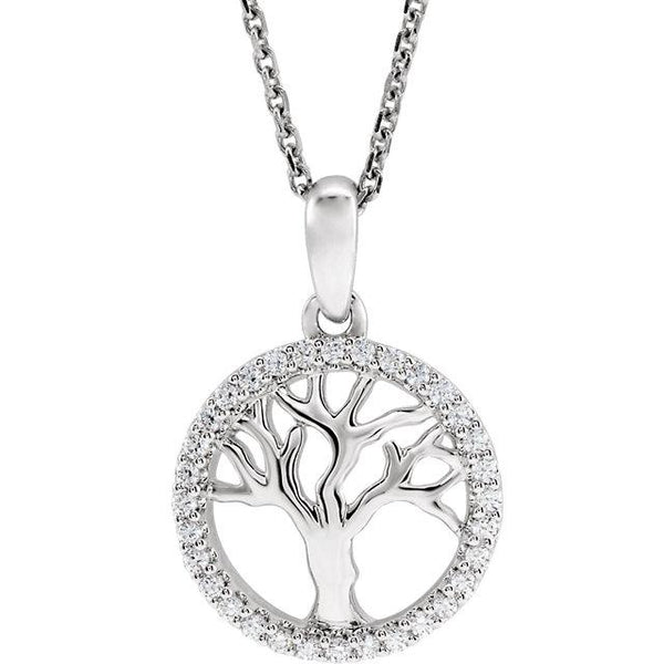 14K White Gold 1/5 CTW Diamond Tree of Life Pendant Charm Necklace