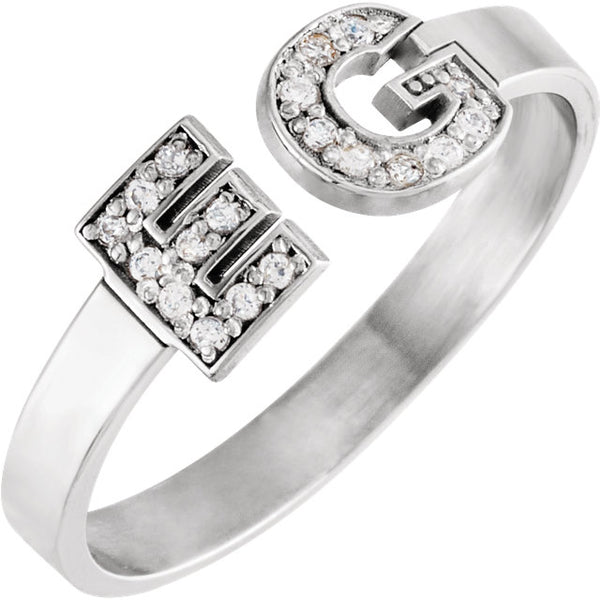 14k White Gold Personalized Diamond Initial Ring