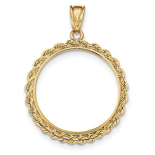 14K Yellow Gold 1/2 oz or One Half Ounce American Eagle Coin Holder Holds 27mm x 2.2mm Prong Bezel Rope Edge Pendant Charm