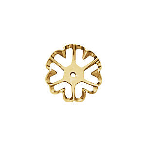14k Yellow Gold Flower Floral Earring Jackets 6.6mm ID Inside Diameter