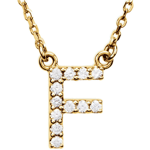 14k Gold 1/8 CTW Diamond Alphabet Initial Letter F Necklace