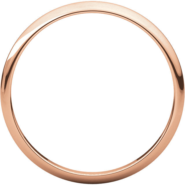 14k Rose Gold 2mm Wedding Ring Band Half Round Light