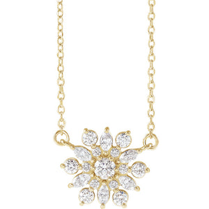 Platinum 14k Yellow Rose White Gold Sterling Silver 1/2 CTW Diamond Starburst Cluster Necklace
