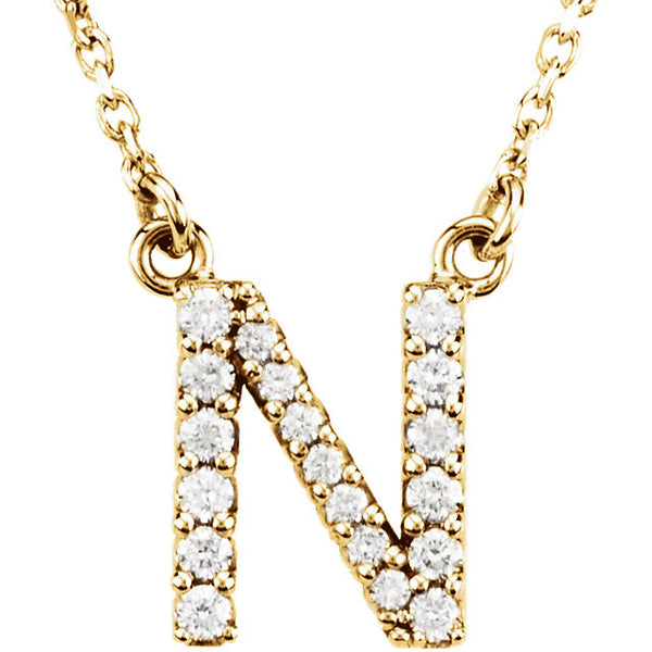14k Gold 1/6 CTW Diamond Alphabet Initial Letter N Necklace
