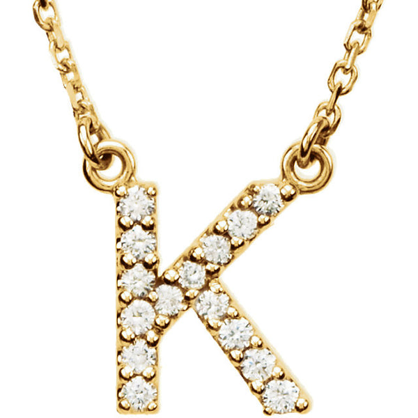 14k Gold 1/8 CTW Diamond Alphabet Initial Letter K Necklace