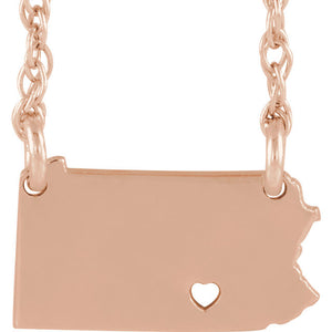 14k Gold 10k Gold Silver Pennsylvania State Heart Personalized City Necklace