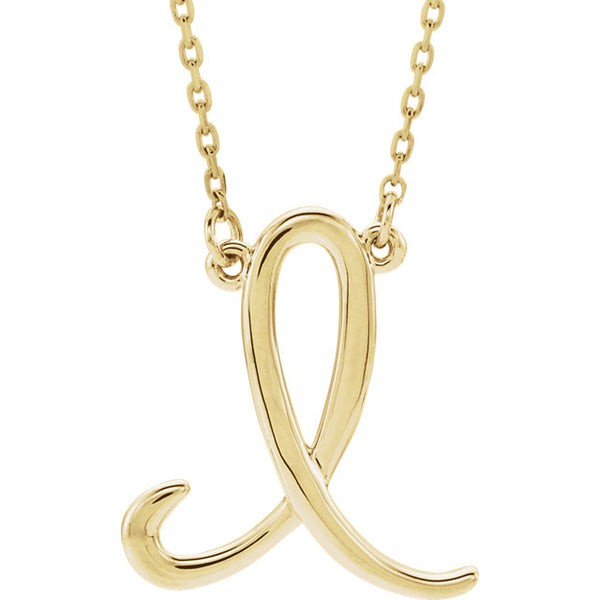 14k Gold or Sterling Silver Script Letter I Initial Alphabet Necklace