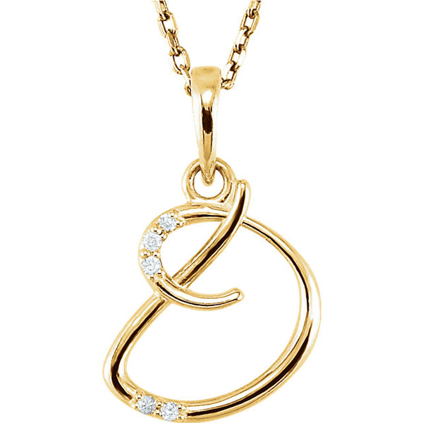 14k Gold or Sterling Silver .03 CTW Diamond Script Letter D Initial Necklace