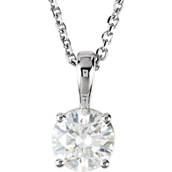 14k White Gold 1/2 CTW Diamond Solitaire Necklace 18 inch