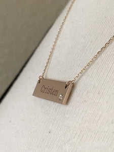 14k Yellow White Rose Gold .03 CTW Diamond Bar Necklace Engraved