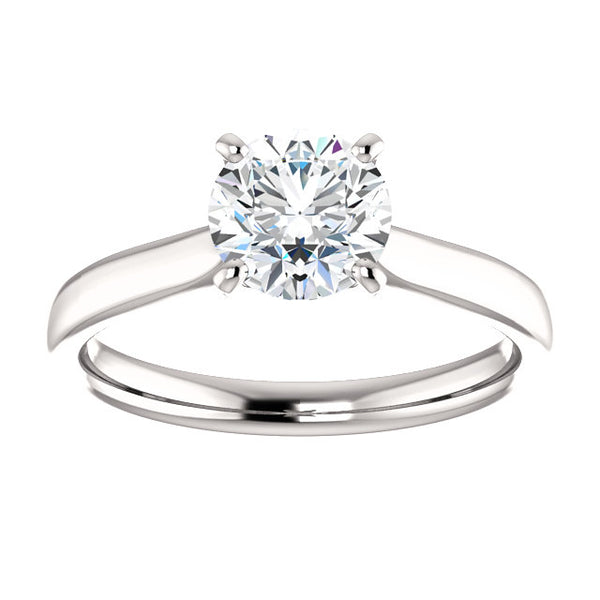 14k White Gold 1 CT Carat Round Diamond Solitaire Engagement Ring
