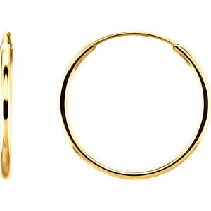 14k Yellow Gold Round Endless Hoop Earrings 10mm 12mm 15mm 20mm 24mm x 1mm