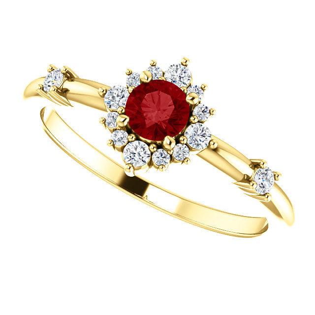 14k Yellow Gold Genuine Ruby 1/6 CTW Diamond Ring Halo Style