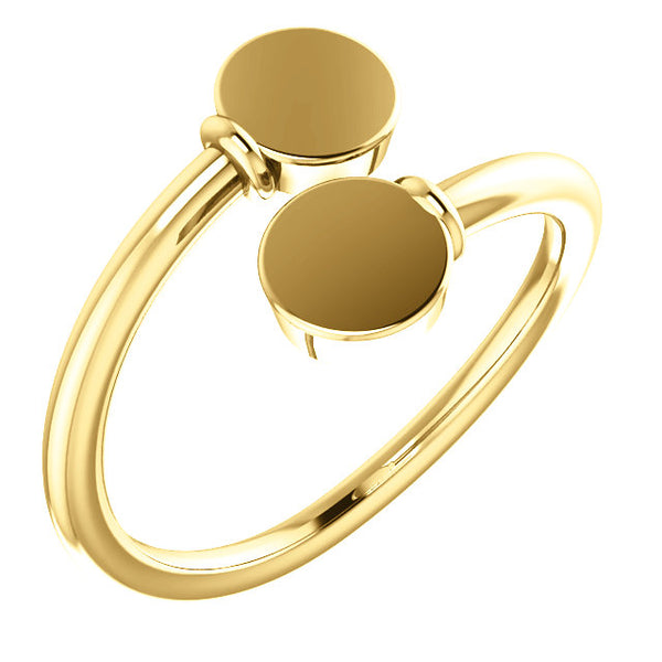 14k Yellow Gold Engravable Bypass Signet Ring Personalized Engraved