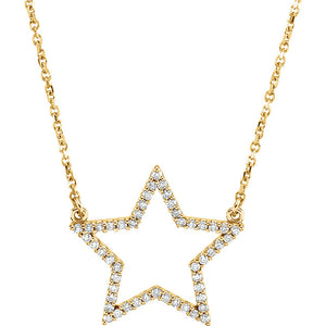14K Yellow White Rose Gold 1/4 CTW Diamond Star Celestial Necklace