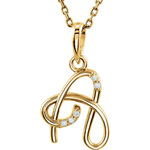 14k Gold or Sterling Silver .03 CTW Diamond Script Letter A Initial Necklace
