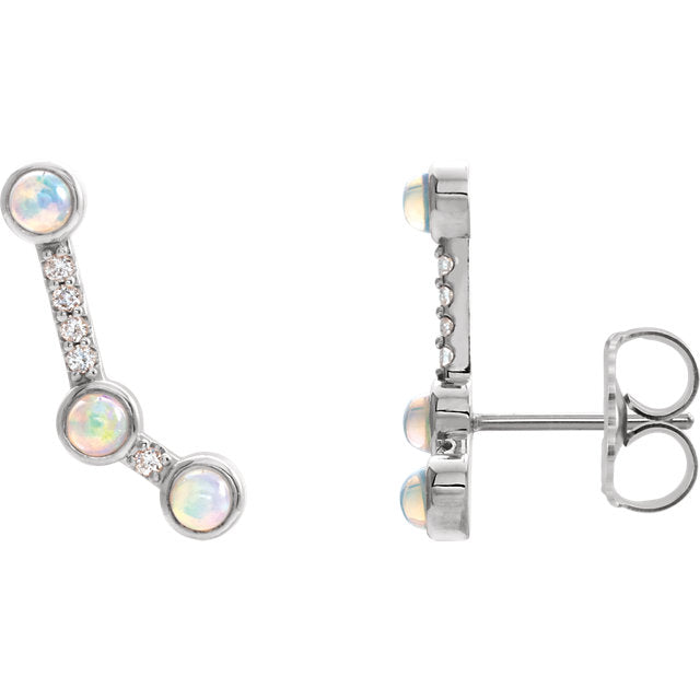 Platinum 14k Yellow Rose White Gold Ethiopian Opal .08 CTW Diamond Ear Climbers Earrings