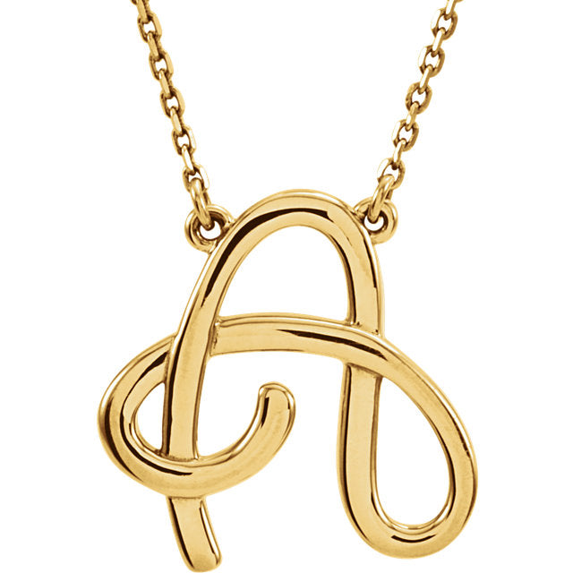 14k Gold or Sterling Silver Script Letter A Initial Alphabet Necklace