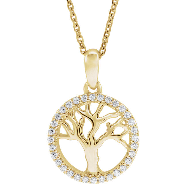 14K Yellow Gold 1/5 CTW Diamond Tree of Life Pendant Charm Necklace
