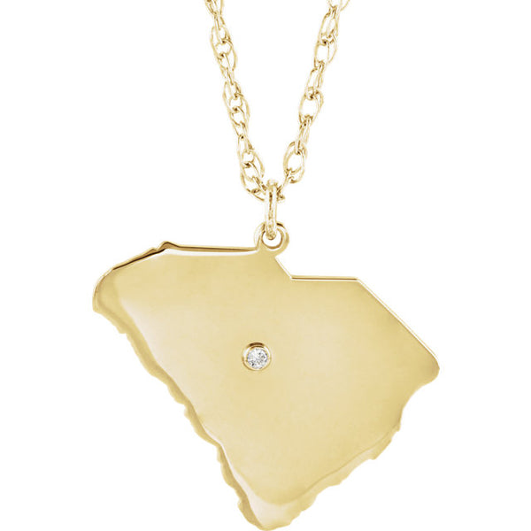 14k Gold 10k Gold Silver South Carolina SC State Map Diamond Personalized City Necklace