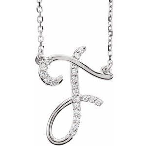 14K Yellow Rose White Gold Diamond Letter F Initial Alphabet Necklace Custom Made To Order