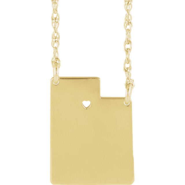 14k Gold 10k Gold Silver Utah State Heart Personalized City Necklace