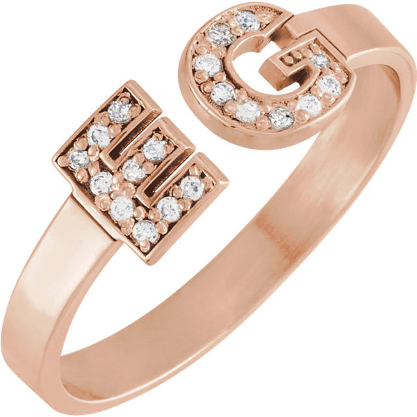 14k Rose Gold Personalized Diamond Initial Ring