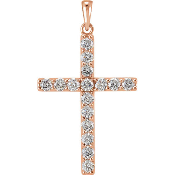 14k Yellow Rose White Gold 1/3 CTW Genuine Diamond Cross Pendant Charm