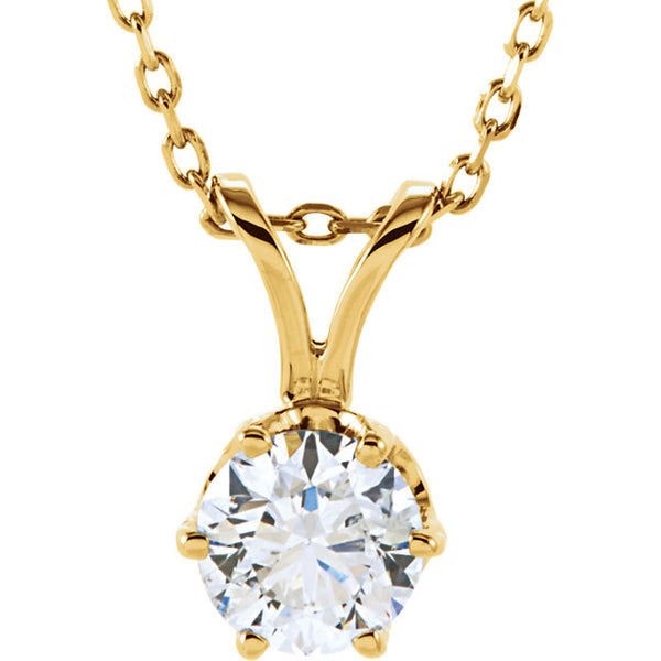14k Yellow Gold 1/2 CTW Diamond Solitaire Necklace 18 inch