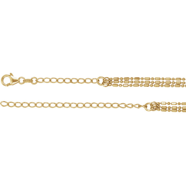 14k Yellow Rose White Gold Multi 3 Strand Bead Necklace Chain Adjustable 16 inches