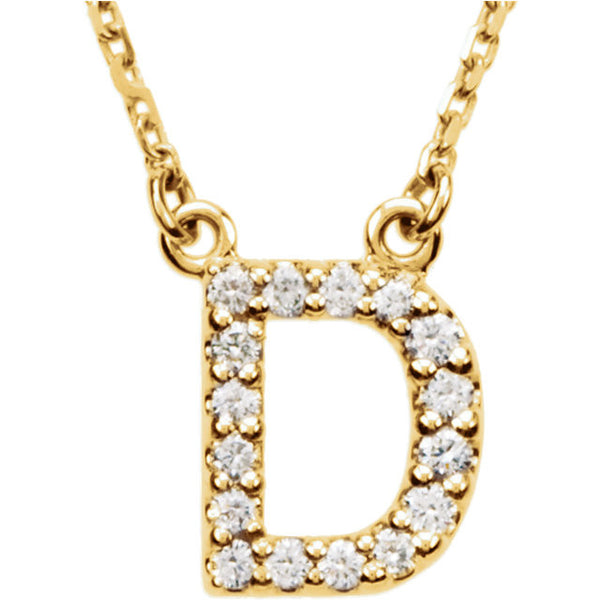 14k Gold 1/6 CTW Diamond Alphabet Initial Letter D Necklace