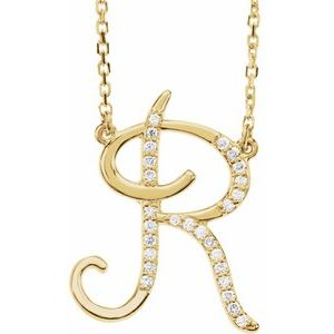 14K Yellow Rose White Gold Diamond Letter R Initial Alphabet Necklace Custom Made To Order