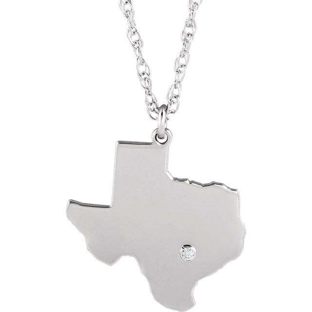 14k Gold 10k Gold Silver Texas TX State Map Diamond Personalized City Necklace