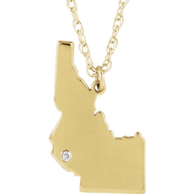 14k Gold 10k Gold Silver Idaho ID State Map Diamond Personalized City Necklace