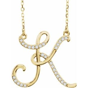 14K Yellow Rose White Gold Diamond Letter K Initial Alphabet Necklace Custom Made To Order